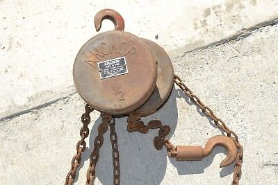 Endless Chain Block and Tackle Pulley Set Vintage Industrial Rustic Man Shed