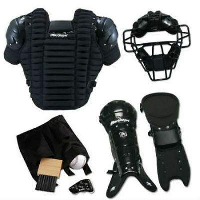 Baseball Umpire Pack Face Mask Chest Protector Leg Guards Ball Bag Count Keeper