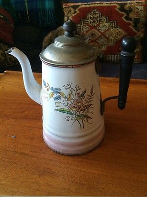 French Floral Enamel Ware Coffee Pot Antique wood handle metal lid