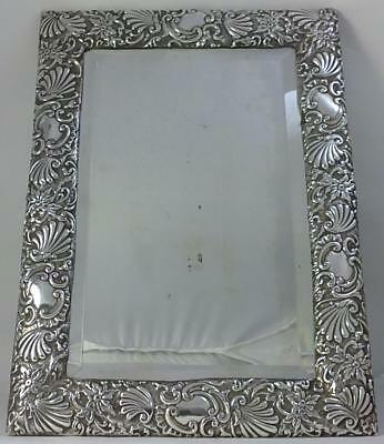 """Victorian hallmarked Sterling Silver-fronted Table Mirror (11 ½ """" x 8"""") – 1890"""