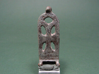 Ancient Bronze Buckle Cross Christian Sign 400-600 Ad