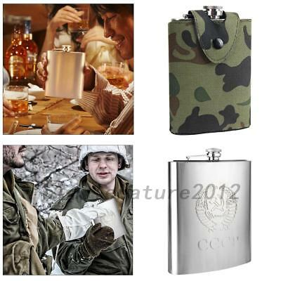8 Oz Men's Hip Flask Whisky Bottle Camouflage CoverStainless Steel Gifts