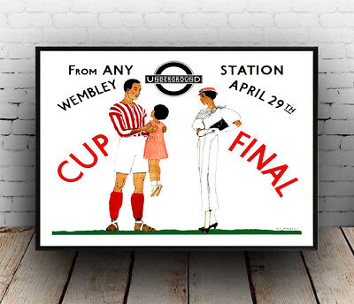 F.A Cup Final : Vintage Travel Advert , poster, Wall art, poster, reproduction.