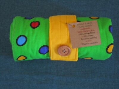 Handmade baby changing mat 100% cotton-Lime green with dots.