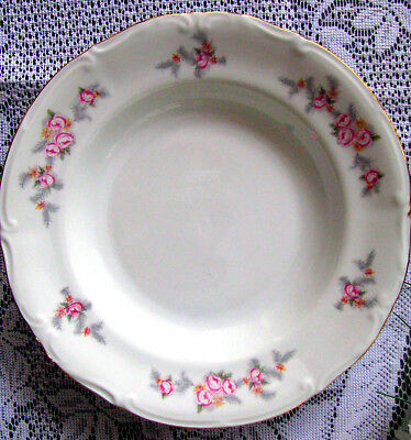 """Chodziez Pink Rose With Gray Fern Leaf Rimmed Soup Bowl 8 1/4"""" Poland Roses Bowl"""
