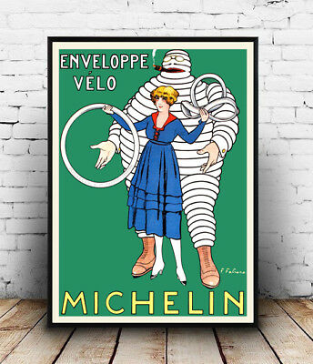 Michelin Rusty Tyre Service Poster Old Vintage Logo Photo French Funny Character