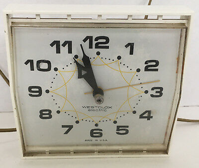 vintage retro westclox electric wall clock melody atomic white  sold as is parts