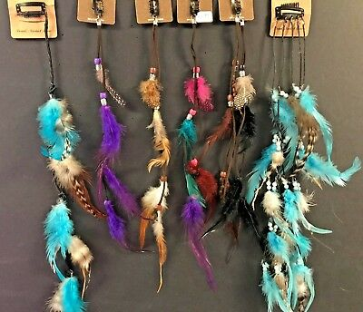 *NEW FEATHER and BEADS HAIR EXTENSION CLIP-ON MULTI COLORS