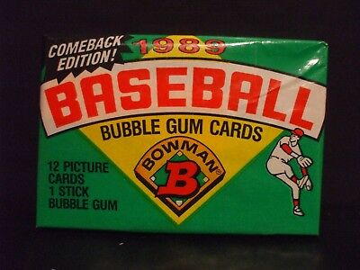 (1) 1989 Bowman Sealed and Unopened Pack of Baseball Cards