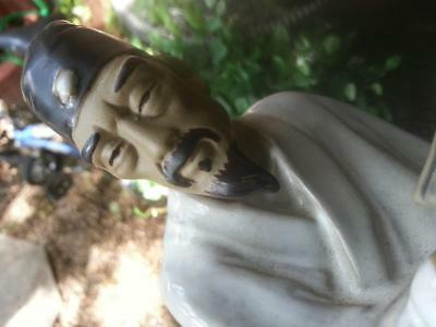 Japan Japanese oriental male Sage? pottery figure of man statue with book & hoe