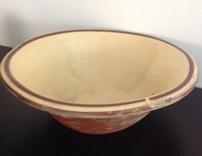 Antique Victorian Rustic Welsh Dairy Bowl / Dough Bowl