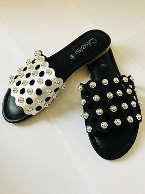 Women Studded Flat Slider Cage Ladies Summer Holiday Slip On Sandals Shoes 3-8