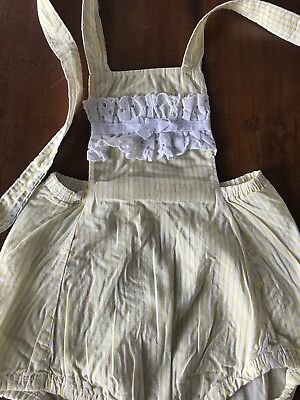 Vintage Baby Romper Yellow White Eyelet Lace Bow (J3)