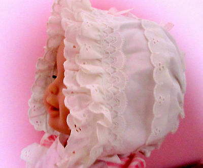 baby vintage clothing ruffle BONNET HAT CAP christening white 15 doll reborn NEW