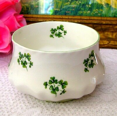 Rosina Green Shamrock Open Sugar Bowl English Bone China Queens Ireland Flower