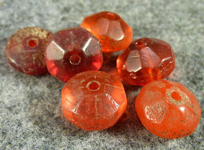(6) Original Red Faceted Russian Glass Indian Trade Beads Fur Trade Era 1700's