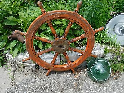 ANTIQUE AUTHENTIC Solid Wood & Iron Ship's Helm Steering Wheel 8 Spoke HUGE 39""