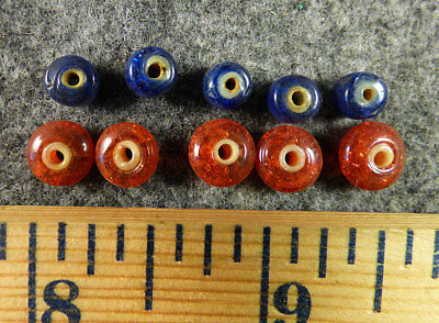 (10) Huron Indian Red & Blue White Heart Glass Trade Beads Fur Trade 1700's