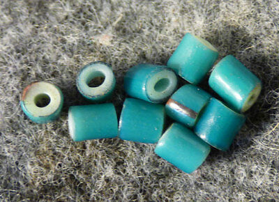 (10) Huron Indian Sky Blue White Heart Glass Trade Beads Fur Trade 1700's