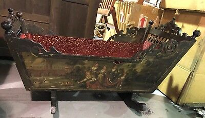 ORIGINAL 19th Century LARGE Dutch CRIB Renaissance Style Cradle Baby's Bassinet