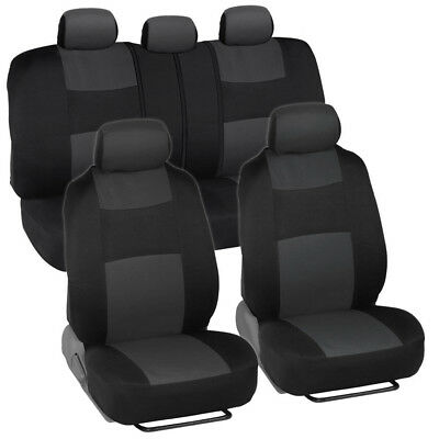 Black// Charcoal Poly Fabric Full Set Car Rear Split Seat Covers for Nissan #8660