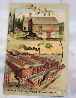 Vintage 1880's Antique Victorian Trade Card 2 Sides of Color McCormick Reapers