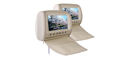 """XTRONS HD905VC - 2 x 9"""" In Car Headrest DVD Players with Zipper Cover - Cream"""