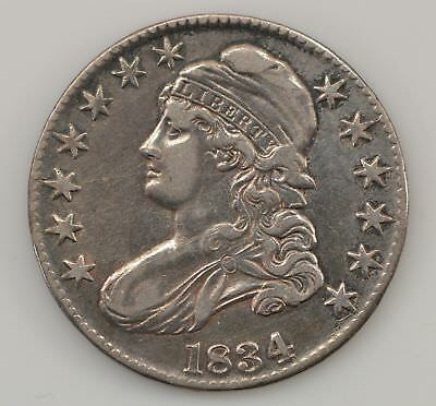 1834 Capped Bust *Large Date, Letters* Silver Half Dollar *Q61