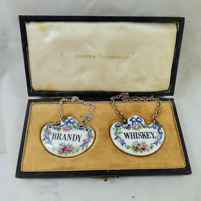 CROWN STAFFORDSHIRE decanter labels in original T.GOODE & Co box WHISKEY BRANDY