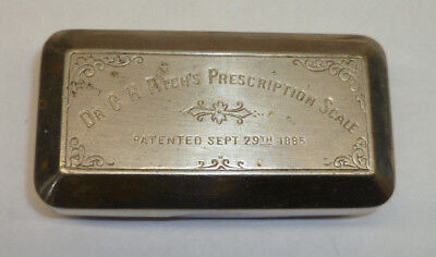 Antique Dr. C. H. Fitch's Pocket Metal Prescription Scale Kit 1885 Patent Medic