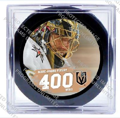 Vegas Golden Knights Fleury 400 Wins Puck Limited Penguins Stanley Cup Champion