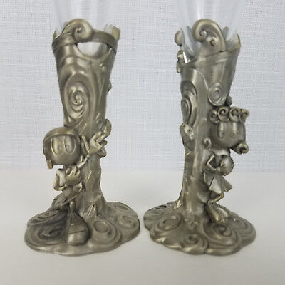 Warner Brothers Gallery Mr and Mrs Marvin Martian Wedding Glasses Flutes Pewter
