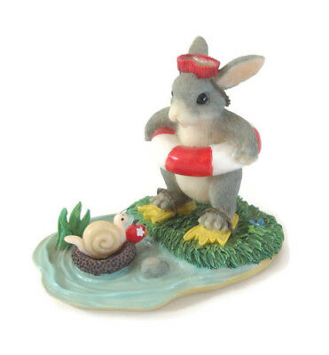 Charming Tails Come On In Water's Fine Bunny w/Life Preserver, Mask, Fins, Water