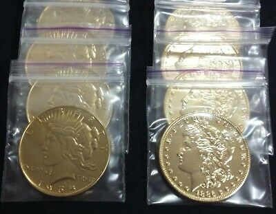 1OZ .999 FINE GOLD PLATED MORGAN and PEACE DOLLAR COINS 1 of each
