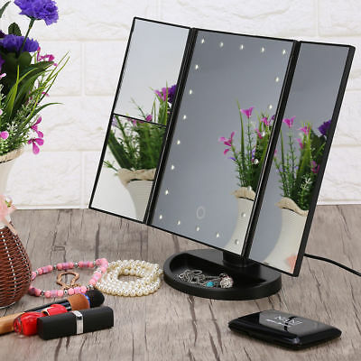 22 LED Light Illuminated Makeup Mirror with Magnification Touch Screen Foldable