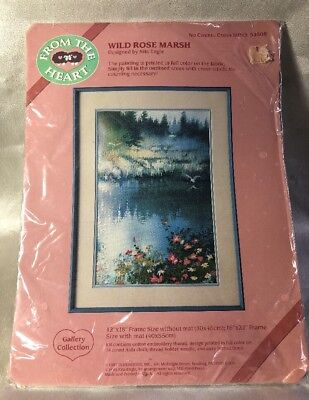 """From The Heart Cross Stitch """"Wild Rose Marsh"""" #53508 1987 Dimensions Vintage."""