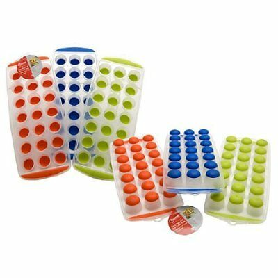 New Easy Pop Out Non Stick Ice Cube Tray Soft Silicone Plastic Party Bbq Garden