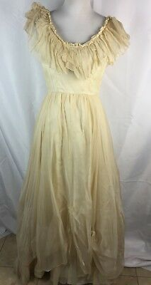 Vtg 70s Ivory Wedding Dress Scooped Tiered Neckline Fits XS S Costume Rehab