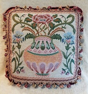 Italian Tapestry Pillow Vase of Flowers Mauve Peach Green Blue,(New Other)
