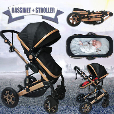 Baby Toddler Reversible Pram Stroller & Bassinet 4 Wheel Travel Fold Pushchair
