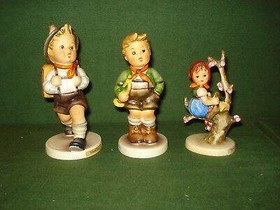 3- Hummel Figurines, School Boy, Trumpet Boy & Apple Tree Girl, Nice Shape