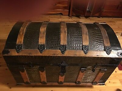 Humpback Dome Steamer Trunk With Faux Alligator Skin Exterior