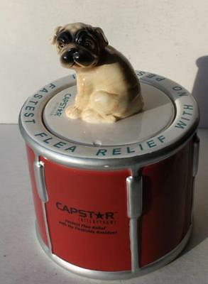 Capstar Flea Relief Advertising Dog Treat Cookie Jar with 3-D Dog Figurine Lid
