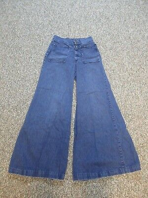 Bell Bottom Flares Jeans with Double Buttons & Flap Pockets, 1970s