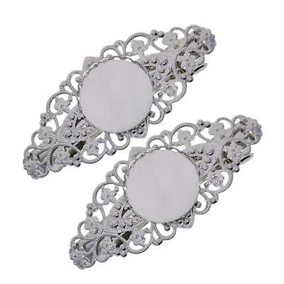 2pcs Hair Clip Barrette Filigree Flower Cabochon Blank Setting Base Finding