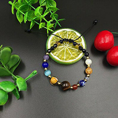 Natural Stone Beads Galaxy Planets Solar System Bracelet Bangle D2C9