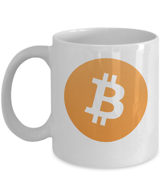 Bitcoin Logo White Coffee Mug Cryptocurrency Gift for Mom Dad Day Trader
