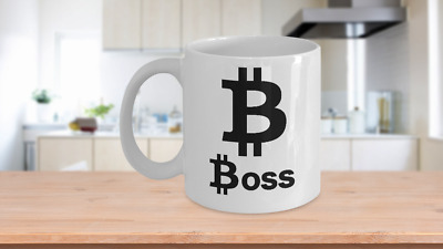 Bitcoin Boss Mug White Coffee Cup Funny Gift for Cryptocurrency Trader