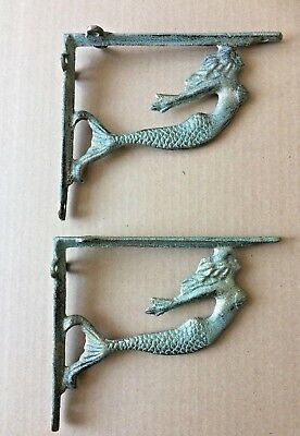 SET OF TWO Turquoise Mermaid Cast Iron Wall Shelf Brackets Nautical Home Accent