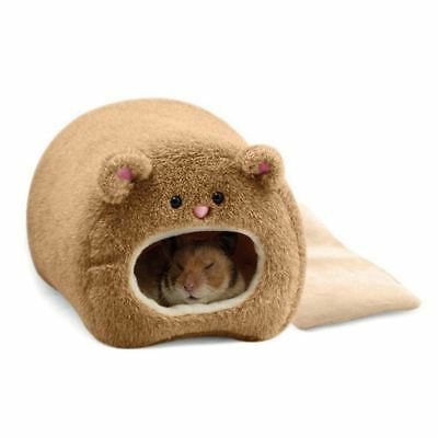 Rats Hamster Winter Warm Hanging Cage Hammock Cute Bear House with Bed Mat Z1Q8